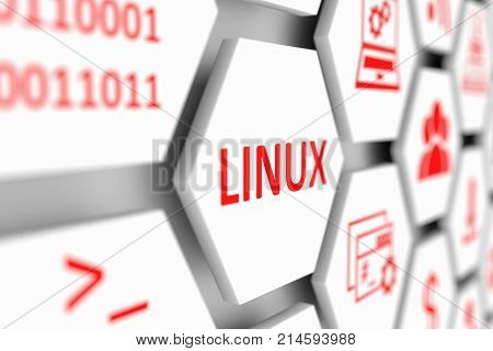 LINUX concept cell blurred background 3d illustration