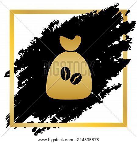 Coffee bag Icon. Coffee bag. Vector. Coffee bag Icon Button. Vector. Golden icon at black spot inside golden frame on white background.
