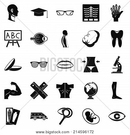 Anatomy icons set. Simple set of 25 anatomy vector icons for web isolated on white background