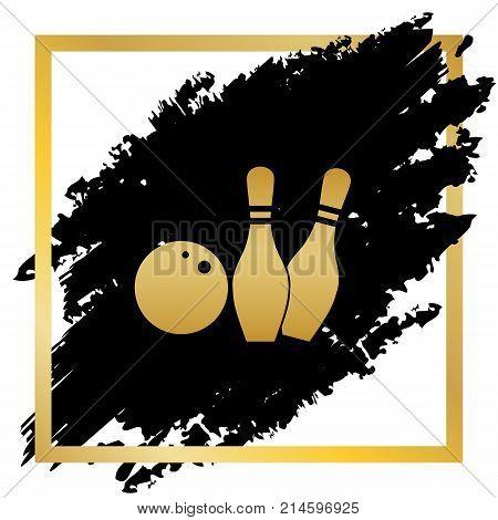 Bowling sign illustration. Vector. Golden icon at black spot inside golden frame on white background.