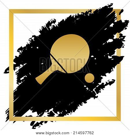 Ping pong paddle with ball. Vector. Golden icon at black spot inside golden frame on white background.
