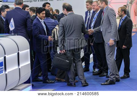 St. Petersburg, Russia - 3 October, A crowd of business people at the gas forum, 3 October, 2017. Participants and visitors of the annual St. Petersburg Gas Forum.