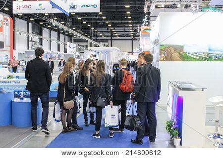 St. Petersburg, Russia - 3 October, A group of students on the forum, 3 October, 2017. Participants and visitors of the annual St. Petersburg Gas Forum.