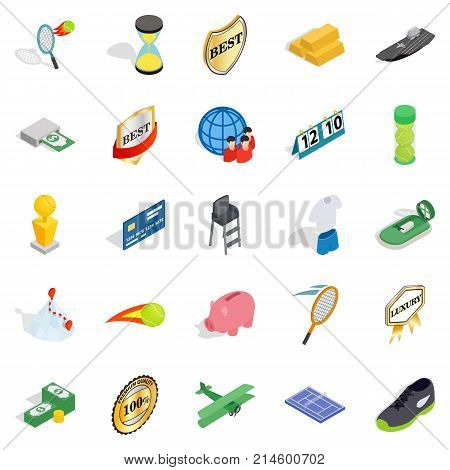 Compensation icons set. Isometric set of 25 compensation vector icons for web isolated on white background