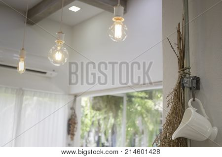 Minimal style interior decorated with vintage light bulbs stock photo