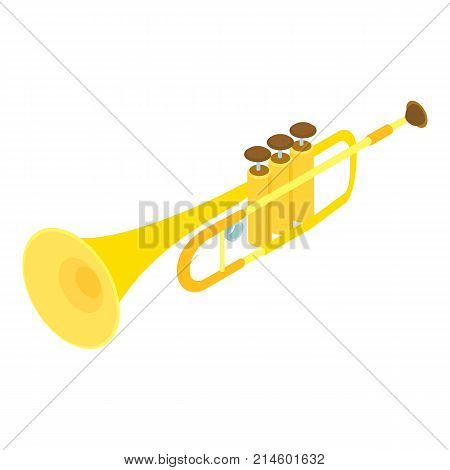 Trumpet icon. Isometric illustration of trumpet vector icon for web