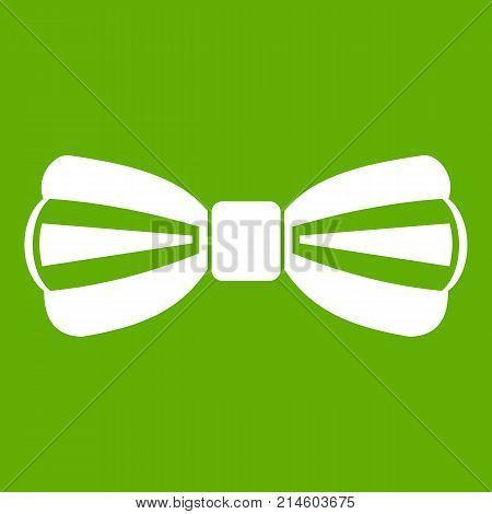 Bow tie icon white isolated on green background. Vector illustration