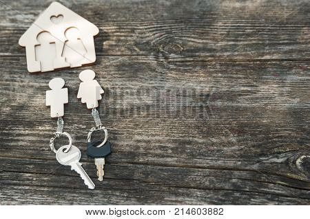 Modern key case on wooden background. New housing buying real estate buying a house a landlord renting a house