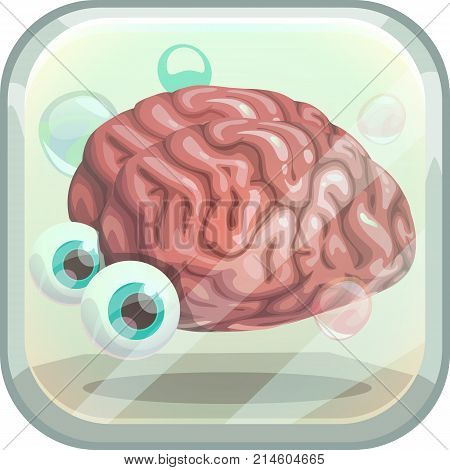 Scary app icon with creepy brain in the tank. Vector illustration.