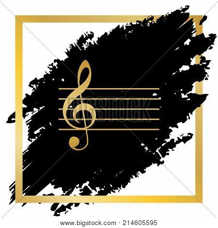 Music violin clef sign. G-clef. Vector. Golden icon at black spot inside golden frame on white background.
