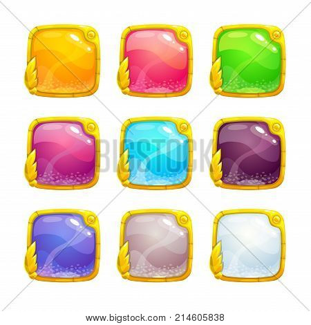 Beautiful colorful square buttons with golden border. Vector assets for web or game design. Decorative GUI elements, isolated on white background.