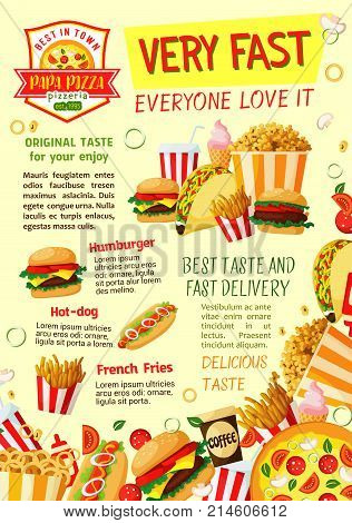 Fast food restaurant and pizzeria poster template. Fastfood hamburger and hot dog sandwich, pizza, fries and popcorn box, soda, coffee drink, ice cream, chicken taco vector banner for menu design