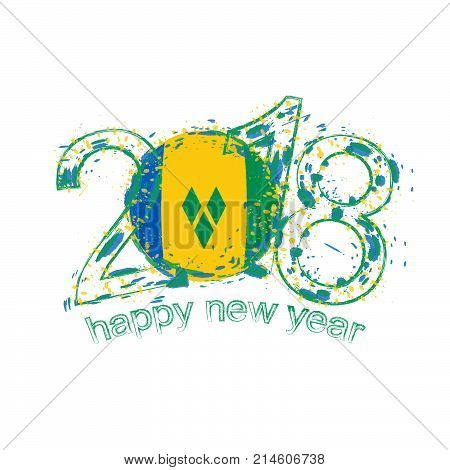2018 Happy New Year Saint Vincent And The Grenadines Grunge Vector Template For Greeting Card And Ot