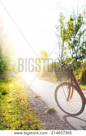 Red Retro Bike On A Cycle Path With Sunlight