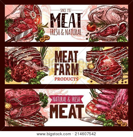 Meat, fresh cut of beef and pork sketch banner set. Beef steak, pork chop and ribs, chicken, lamb sirloin, bacon, veal brisket and ground meat cutlet with knife, herbs and spices for food design