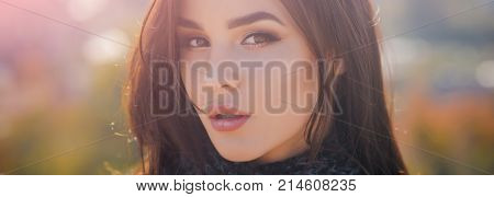 Woman Face With Makeup On Sunny Day