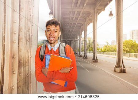 Cheerful African student with blanked textbooks strolling on Paris streets