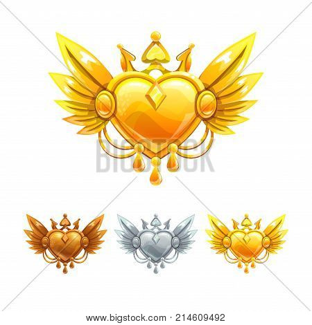 Beautiful decorative metal heart icons set. Vector bronze, silver and golden assets for web or game design.