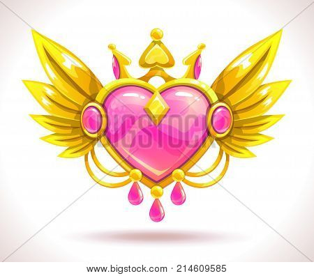 Beautiful precious decorative gold-rimmed crystal heart icon. Magic love item for game or web design. Vector illustration. Jewelry asset.
