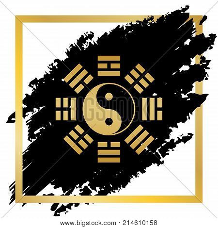 Yin and yang sign with bagua arrangement. Vector. Golden icon at black spot inside golden frame on white background.