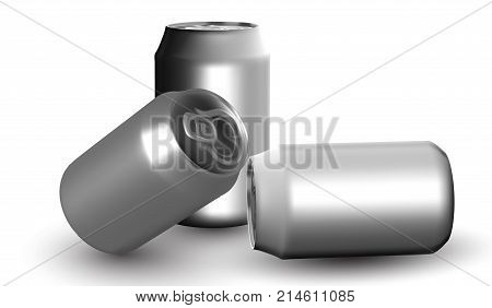 eps10. Beer and soda can mock up isolated on white background. 3D illustration