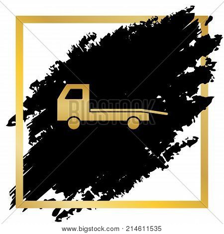 Service of evacuation sign. Wrecking car side. Car evacuator. Vehicle towing. Vector. Golden icon at black spot inside golden frame on white background.