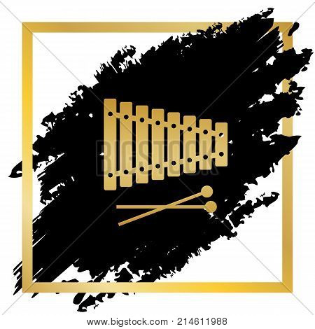 Xylophone sign. Vector. Golden icon at black spot inside golden frame on white background.