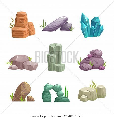 Cartoon stones and rocks assets set. Vector nature elements for game design. Different minerals icons.