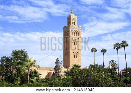 Famous Moroccan Koutoubia Mosque minaret, medina quarter, Marrakech, Morocco, North Africa