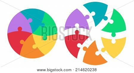 Round puzzle of triangular colored sectors, vector template infographics puzzle, circle puzzle infographic arrows, cycle diagram, jigsaw, graph, chart presentation