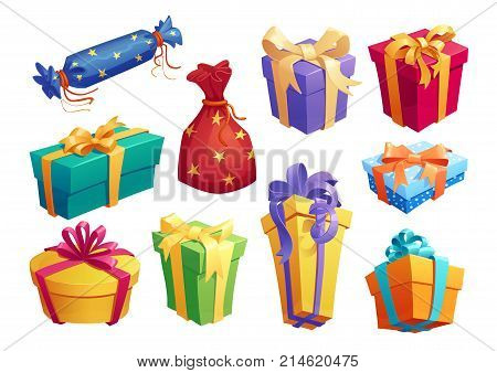 Gift box cartoon icon of presents packaging. Gift box and present bag with ribbon bow for Birthday and Valentine Day surprise, Christmas and New Year holiday celebration design