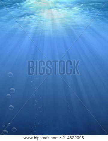 Sunbeams through the water deep