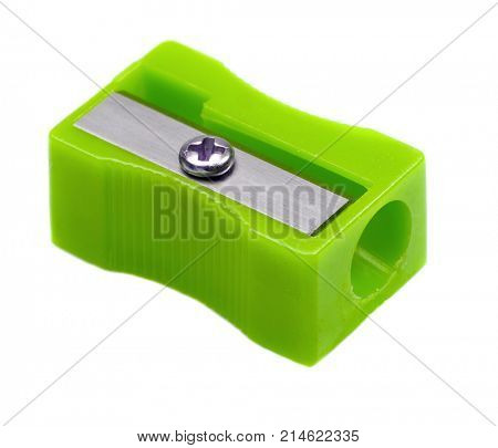 Green pencil sharpener isolated on a white background