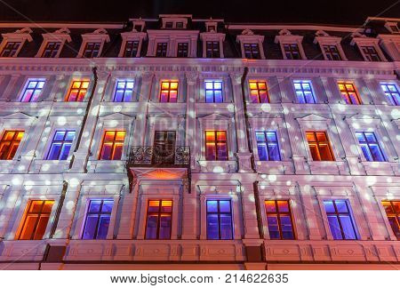 RIGA, LATVIA, NOVEMBER 17, 2017: Festival Staro Riga, Beaming Riga celebrating 99th anniversary of independence. METAMORPHOSES IN VECRIGA, Jekaba street 2