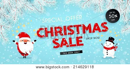 Christmas sale discounts. Santa Claus Snowman Snow Branches of the Christmas tree. Festive advertising banner with fun New Year characters and symbols. Vector illustration