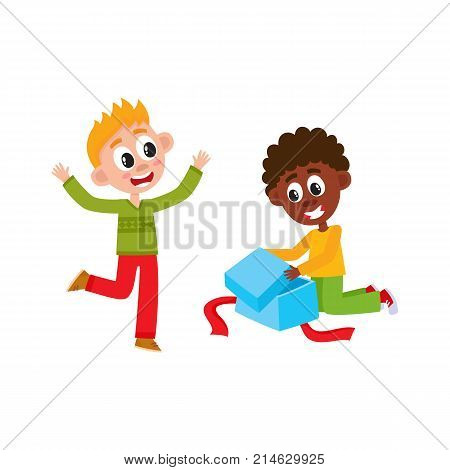 Happy little boys, black and Caucasian, opening a Christmas, New Year, birthday present, gift, cartoon vector illustration isolated on white background. Two kids, boys, friends opening a present box
