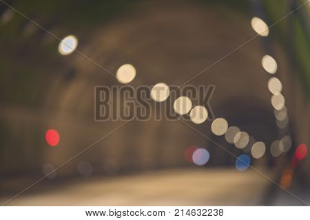 Blurred Abstract of Tunnel Road with two lane highway