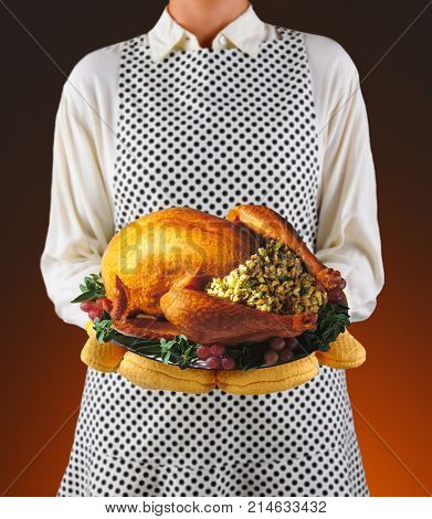 Closeup of a homemaker in an apron and oven mitts holding a platter with a roasted turkey.  Woman is unrecognizable. Shallow depth of field warm background.
