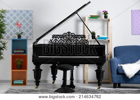 Modern room design with grand piano