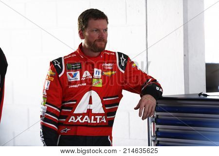 November 17, 2017 - Homestead, Florida, USA: Dale Earnhardt Jr. (88) hangs out n the garage prior to practice for Ford EcoBoost 400 at Homestead-Miami Speedway in Homestead, Florida.
