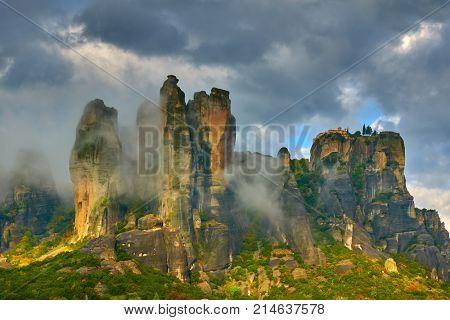 Rocks in Meteora in bad weather, Kalambaka, Greece - Landscape