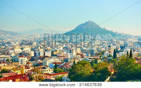 Panoramic view of Athens with Mount Lycabettus, Greece