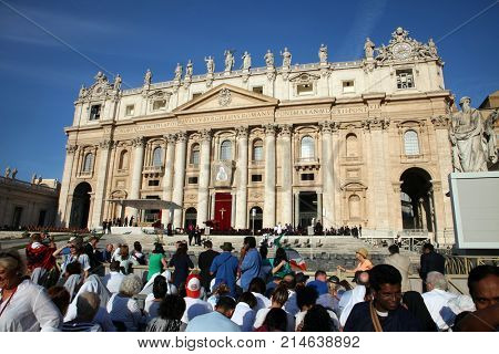 ROME, ITALY - SEPTEMBER 05: St. Peters Basilica in Vatican City, canonization of Mother Teresa in Rome, Italy on September 05, 2016.