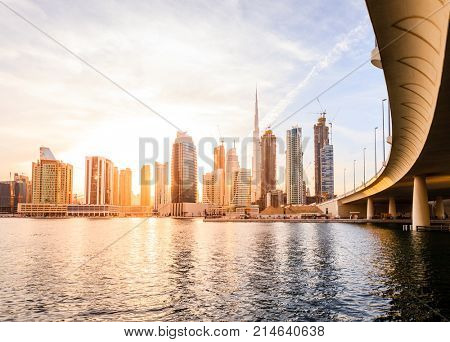 Scenic view of skyline of Dubai's downtown at sunset