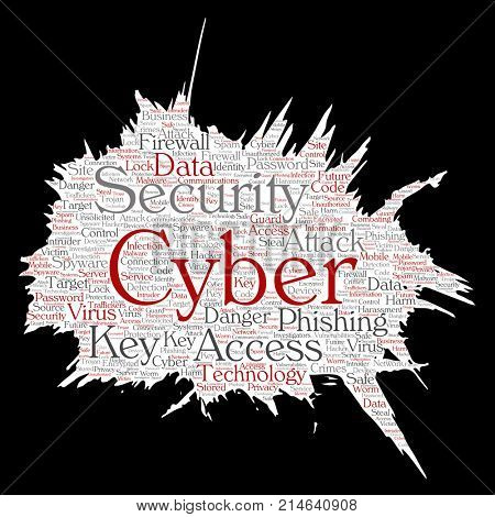 Conceptual cyber security online access technology paint brush paper word cloud isolated background. Collage of phishing, key virus, data attack, crime, firewall password, harm, spam protection