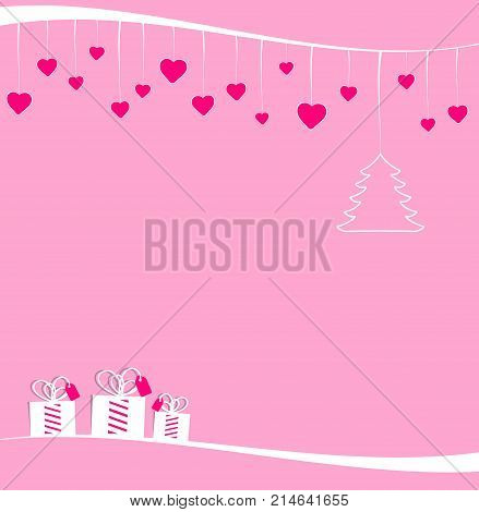 Christmas decorations hanging on a white ribbon for female target. A little Christmas tree with some pink hearts and three gift boxes in pink background for greeting card or party invitation