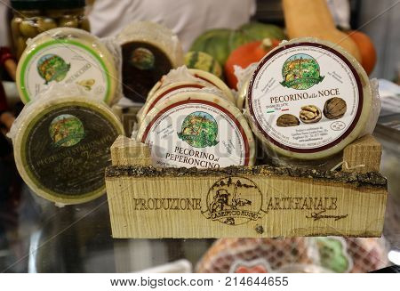 CRACOW POLAND - NOVEMBER 16 2017: Great cheeses Pecorino at Gastrofood - Trade Fair for Food and Drinks for Catering in Cracow. Poland