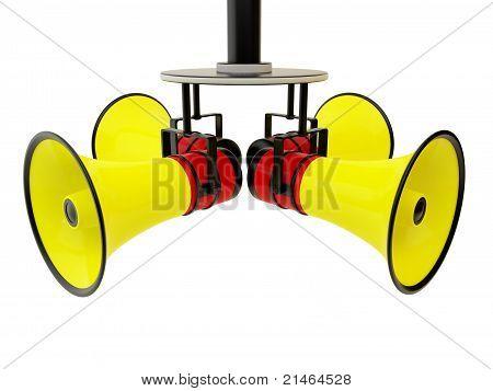 Four bright megaphone