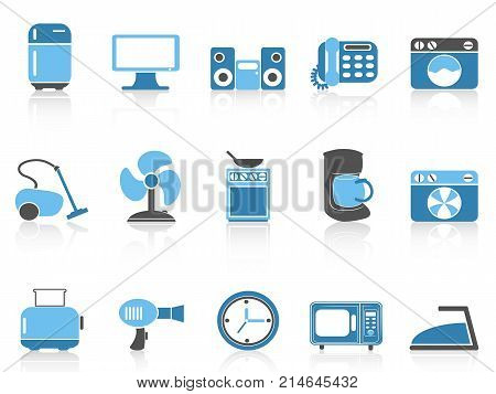isolated blue color series home devices icon set from white background
