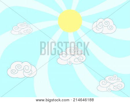 the cartoon style of clouds and sun on blue background